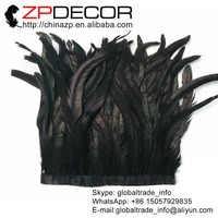 ZPDECOR Wholesale 1yard/lot 35 40CM(14 16 inch) BLACK Chicken Coque Feather Fringe Trim for Carnival