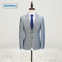 Latest Coat Pant Design Light Grey Linen Men Suit Slim Fit three Piece Tuxedo Custom Wedding Suits Groom Prom Blazer Terno Masculino