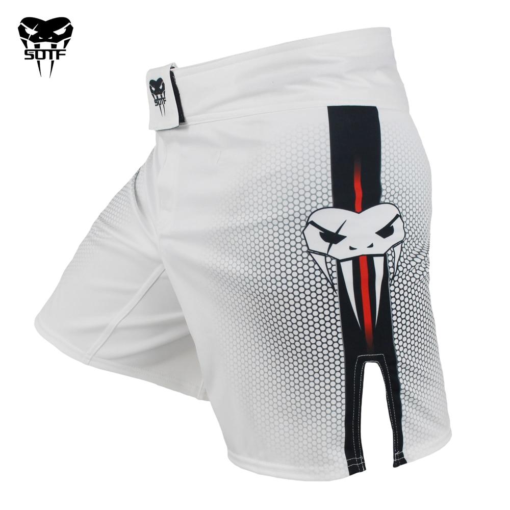 SOTF mma Adults Venomous snake White Red geometric boxing shorts Tiger Muay  Thai mma shorts boxing clothing fight shorts sanda
