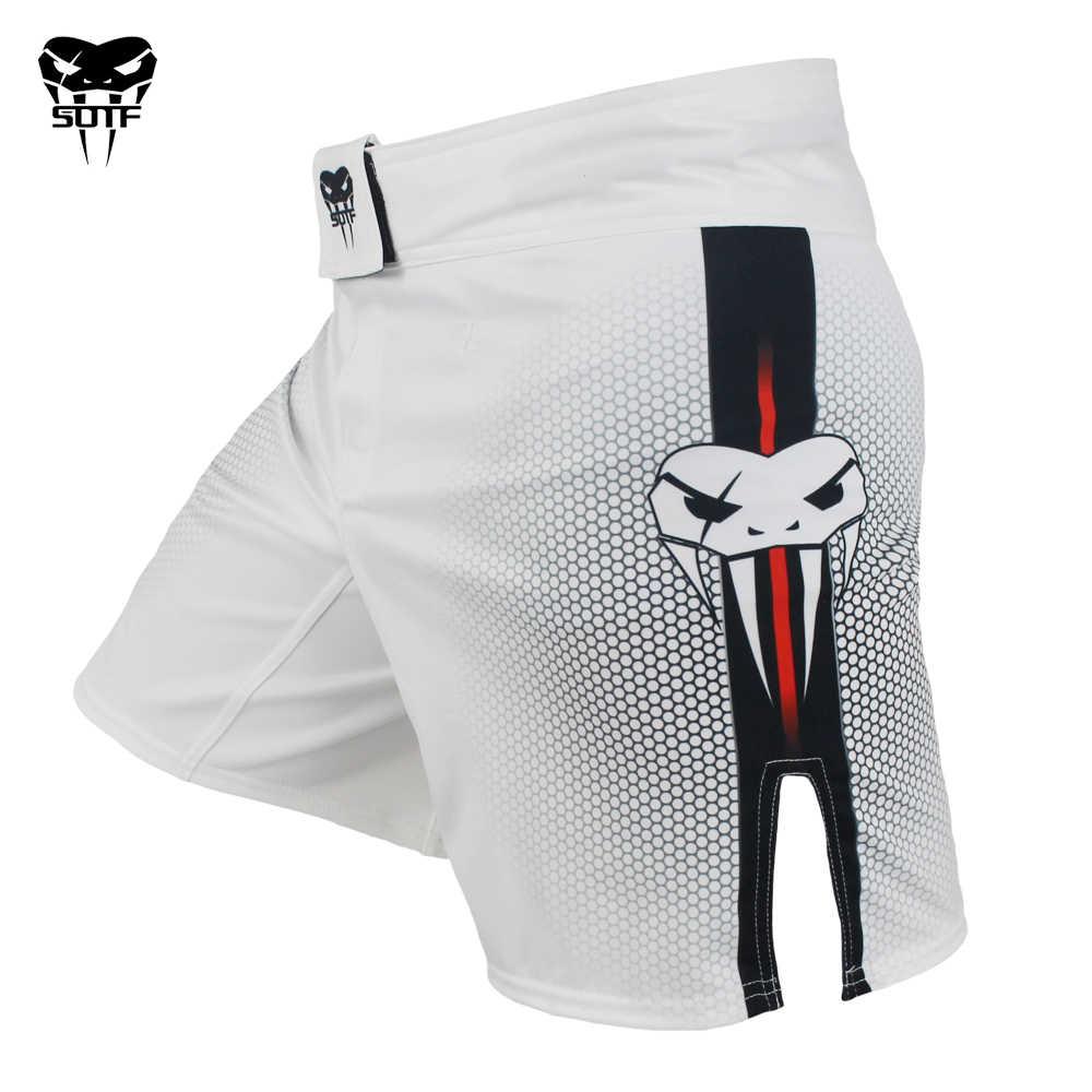 SOTF mma الكبار الأفعى السامة الأبيض الأحمر هندسية سراويل ملاكمة النمر الملاكمة التايلاندية mma السراويل الملاكمة الملابس القتال السراويل sanda