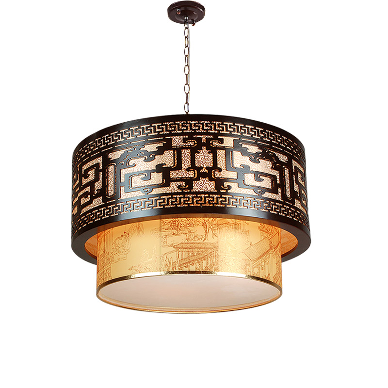 A1 Chinese style retro pendant lights wood dining room restaurant atmosphere sheepskin hotel lobby lamps art project southeast asia chinese style wooden veneer pendant lights living room restaurant lamp dining room lights