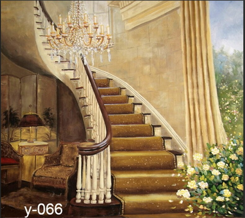 ft ft escaleras interiores pintado a mano muselina estudio de fondo