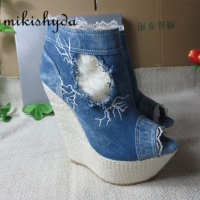 Discount Sexy High Heels Denim Peep-Toe Slop Heels Waterproof Ankle Boots Thick Sole Botines Plataforma Mujer Cowboy Wedges Blue blue jeans bota feminina 2017 summer shoes ankle boots for women cowboy denim high heels sexy peep toe tear hollow out sandals