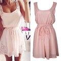 Moda feminina verão sem mangas cintura cinto strap oco beach party dress