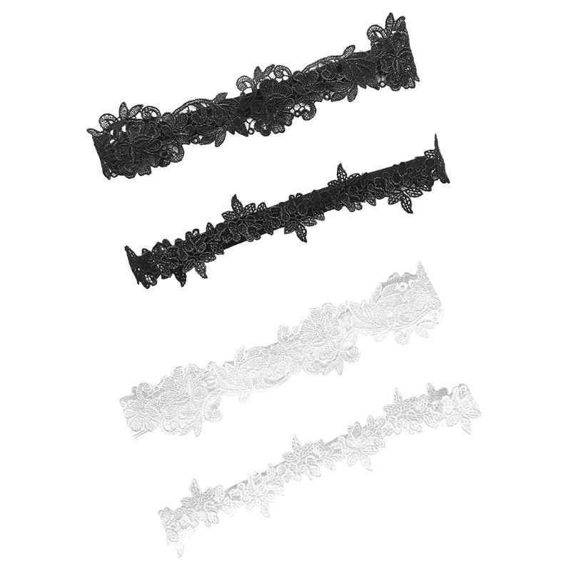 2 قطع الزفاف الساق الأربطة بلون أسود/الدانتيل الأبيض زهرة الجوف خارج مطرز بسط الفخذ خواتم شريط مطاطي