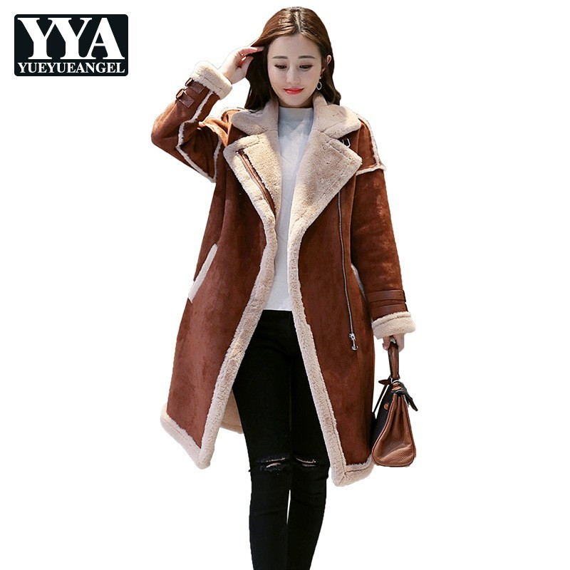 2019 Winter Female Fashion   Suede     Leather   Jacket Women Long Faux Lamb Wool Motorcycle Jacket Thick Warm Zippers Coat Outerwear