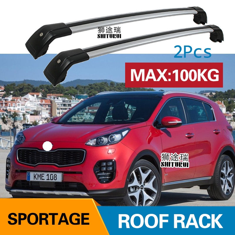 SHITURUI 2Pcs Roof bars For KIA SPORTAGE 4TH 2016 2017 2018 Aluminum Alloy Side Bars Cross Rails Roof Rack Luggage Carrier shiturui for skoda fabia ultra quiet truck roof bar car special aluminum alloy belt lock