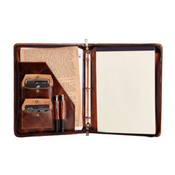 Handmade Oil Wax Cowhide Leather 3 Ring Binder Portfolio A4 File Folder, Business Organizer for Letter Size Notepad/Legal Pad