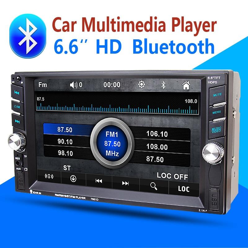 imágenes para 2din Coche Multimedia Reproductor Bluetooth Stereo Radio FM MP3 MP5 Audio VideoUSB Aux Auto Electrónica volante autoradio NO-DVD