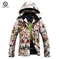 2016 mujeres del invierno impresión de algodón a prueba de viento impermeable térmica abrigo de algodón chaqueta de las señoras y pantalones conjuntos casuales 9661