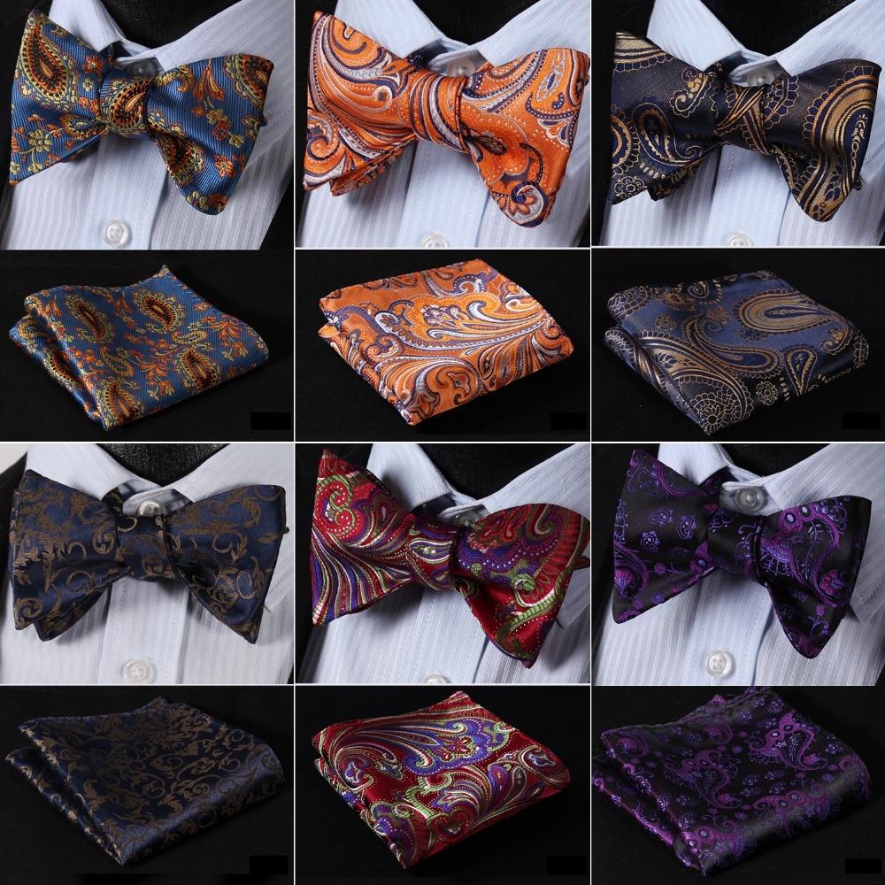 Floral 100%Silk Jacquard Woven Men Butterfly Self Bow Tie BowTie Pocket Square Handkerchief Hanky Suit Set #RF3