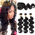 Peruvian Virgin Hair Body Wave With Closure 7A Unprocessed Human Hair 3Bundles With Lace Closure Peruvian Body Wave With Closure