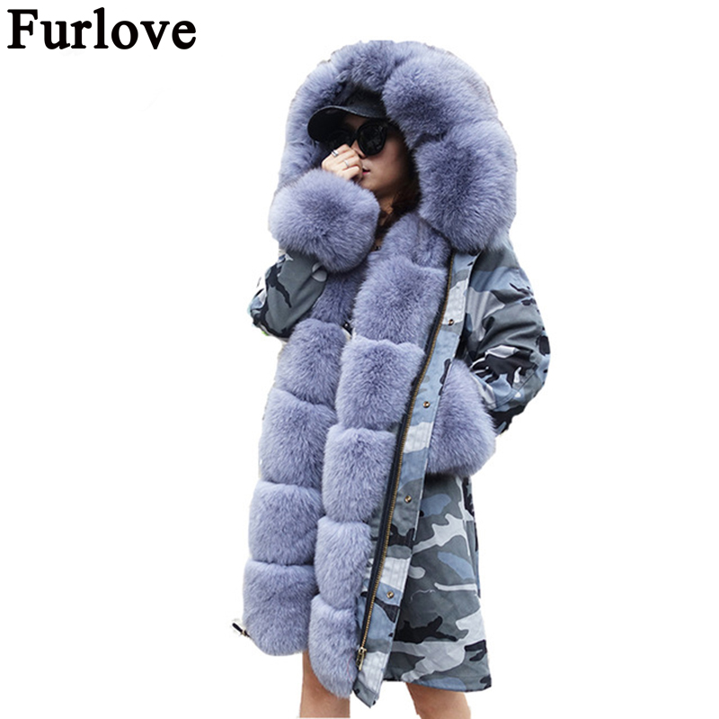 Furlove Women winter warm natural large fox fur collar real parka with luxury rex rabbit liner camouflage jacket