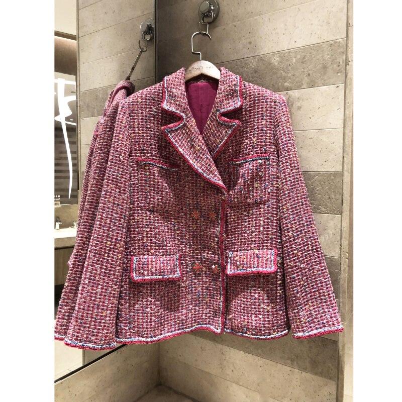 Women's New Jacket 2019 Long Sleeve Retro Lapel Long Sleeve Pink wavy double breasted coat Silk Lined Jacket