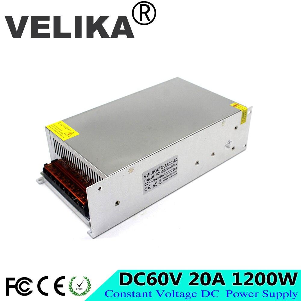 調整可能な DC60V 電源スイッチ 20A 1200 ワット Led ドライバトランス 110 220 ボルト AC DC 60 ボルト smps 業界機械設備  グループ上の 家のリフォーム からの スイッチ 電力供給 の中 1