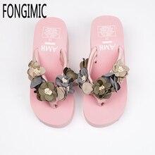 Летние Женщины Тапочки Bohemia Обувь Удобные Тапочки High End Пляжный Отдых Ручной Цветы Клинья нескользящая Шлепанцы