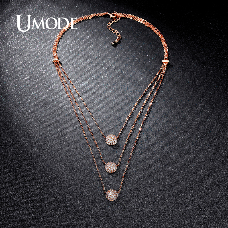 UMODE New Arrival 4 Designs Multi Layered Necklaces Paved Rose Gold Color Choker Necklaces Women Fashion Jewelry AUN0230C