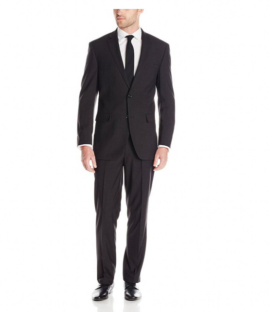 Custom Made Groom Tuxedos- New Fahsion Men Black Business Suits Two Button Dress Suits Top Tuxedo Slim Fit Suits 2 Piece for Men
