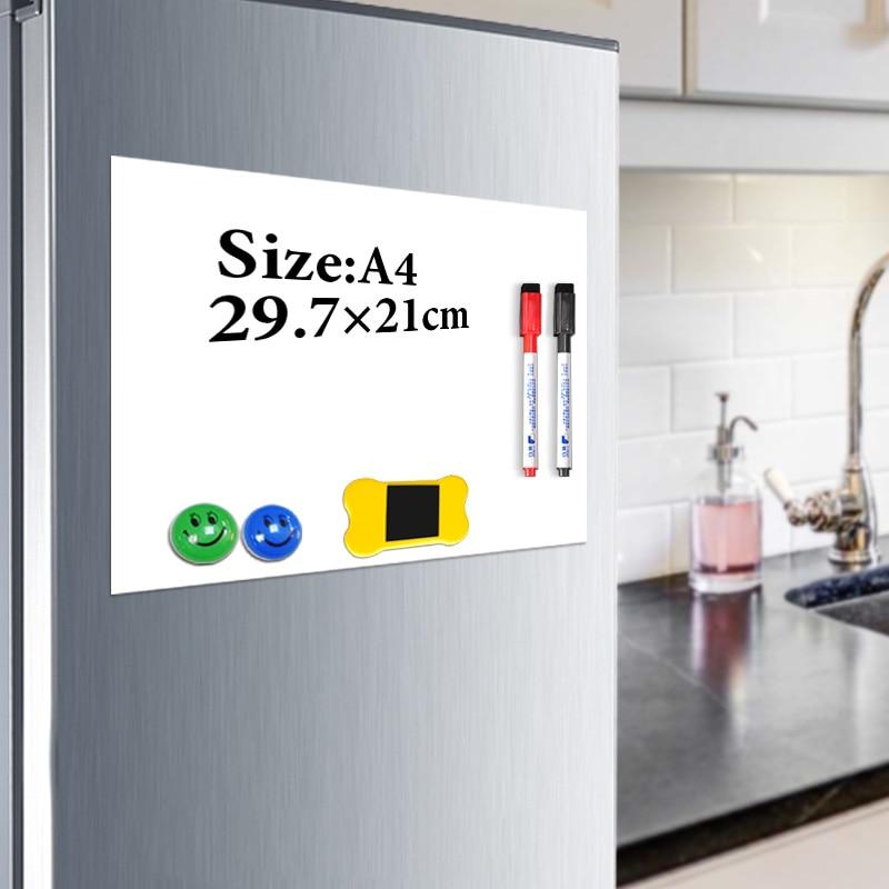 Pizarra magnética YIBAI A4, tablero magnético suave, dibujo de borrado en seco y tablero de grabación para refrigerador de nevera con regalo gratis