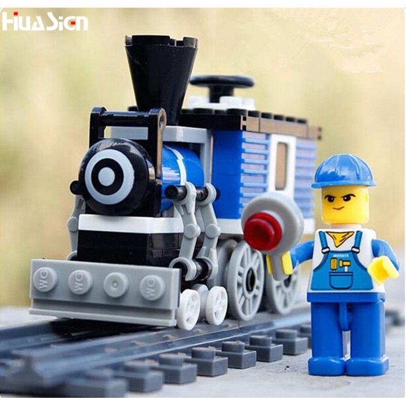 The Best Gift for Kids Boys! DIY Enlighten Train Model Building Bricks Toys Plastic Educational City Railway Blocks Kit