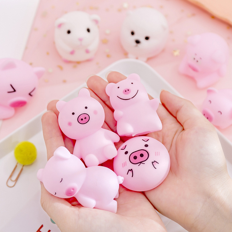 Funny Cute Pink Screaming Rubber Pig Anti-stress Stress Reliever Toys Squeak Squeaker Chew Gift Home Decorations Free Shipping
