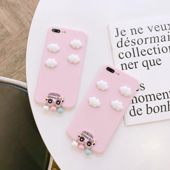 NEW Victoria Fashion Hot Pink Cute 3D Cloud Pendant Case for iPhone 7 Plus phone case For iphone 6 6s 8 8plus Phone Secret