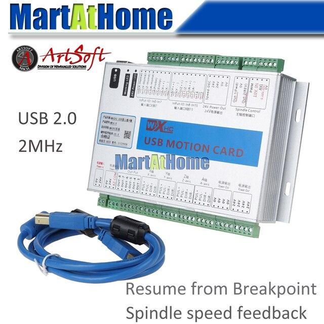XHC MK4 V Mach3 USB 4 осевая ЧПУ Плата управления движением, коммутационная плата 2 МГц, поддержка возобновления с точки прерывания и отзыва о скорости шпинделя