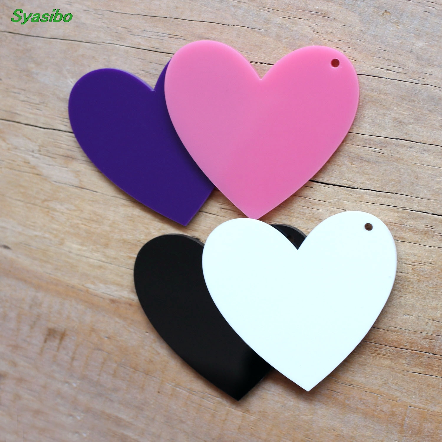 50mm Acrylic Heart Keychains Black, White, Pink, Dark Purple Laser Cut Monogram Keychain Party Ornaments 2inches-AC1054