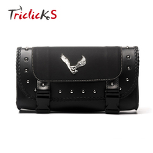 Triclick Motorcycle New Saddle Bags Pu Leather Motorbike Side Tool Bag Luggage For Harley Sportster XL 883 1200 Black Universal