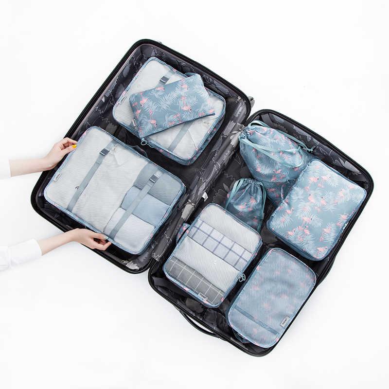 8 ピース/ロットポリエステル + メッシュ旅行雑貨分類オーガナイザーハイエンドユニセックススーツケース Tidy のポーチ旅行アクセサリーバッグ