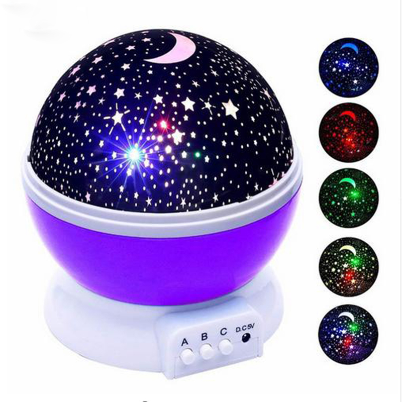 LED Star Sky Projection Lamp LED Night Light Projector Luminaria Moon Novelty Table Lamp Battery USB Light For Children