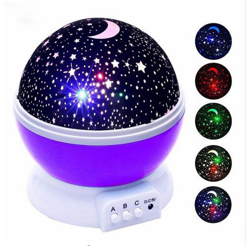 LED Star Sky Projection Lamp LED Night Light Projector Luminaria Moon Novelty Table Lamp Battery USB Light for Children