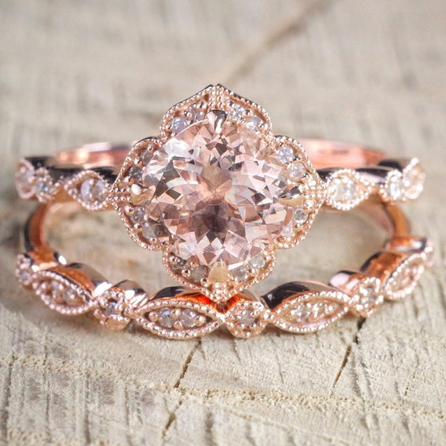 2 Pcs Set Crystal Ring Jewelry Rose Gold Color Wedding Rings For Women S Gift