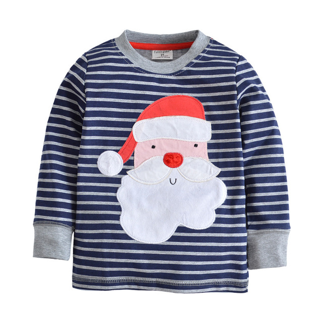 8238dcbf1 2017 New design Boys T-shirt Blue striped Santa Claus Baby Boy brand t  shirts