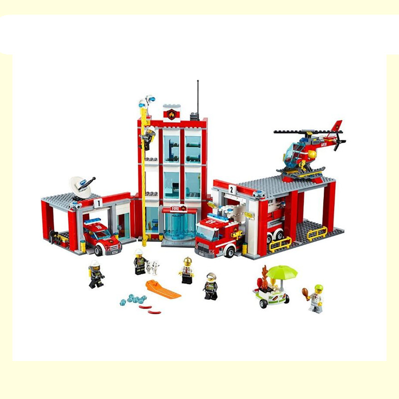 In Stock 02052 1029Pcs City The Fire Station Set Compatible 60110 Building Blocks Bricks Educational DIY Toys for kids mylb new city fire station 774pcs set building blocks diy educational bricks kids toys compatible with legoe best kids xmas gift