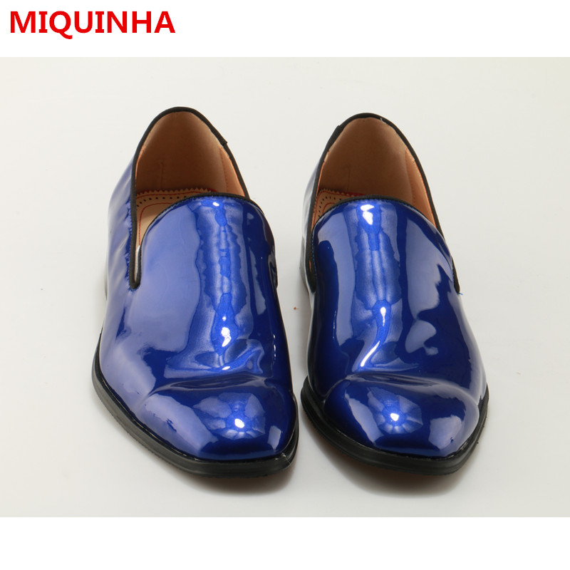 2017 Spring Summer  Shoes Man Blue Patent Leather Slip On Casual Loafer Flats Design Man Flats Breathable Plus Size Tide Shoes цены онлайн