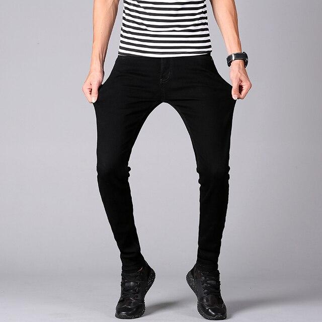 2018 moda hombres Vaqueros Hombre clásico Slim Fit Stretch Jeans ajustados Denim  Jean para hombre negro 7fefe52b3f1