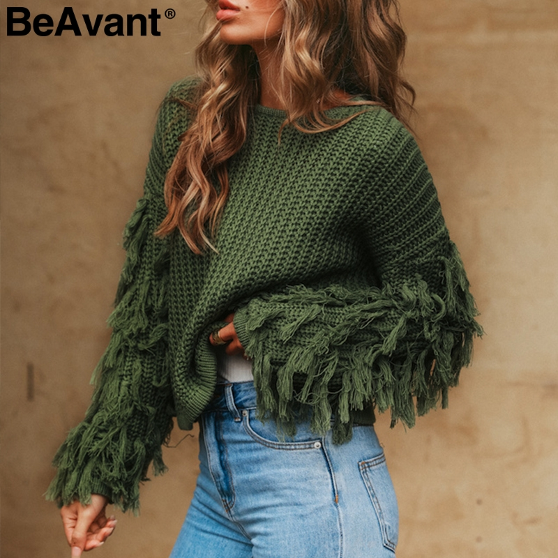 BeAvant Tassel knitted sweater women pullover loose Casual army green winter sweater female O neck 2018 autumn jumper pull femme knitting