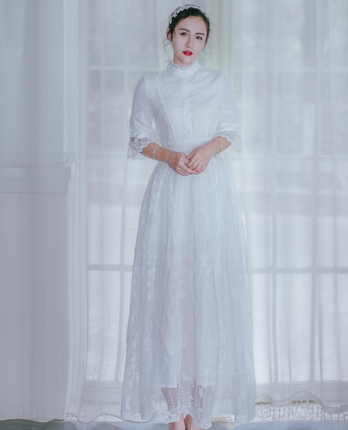 Новый Винтаж Для женщин платье три четверти рукав Кружево Фея элегантный Платья для женщин Белый 8021