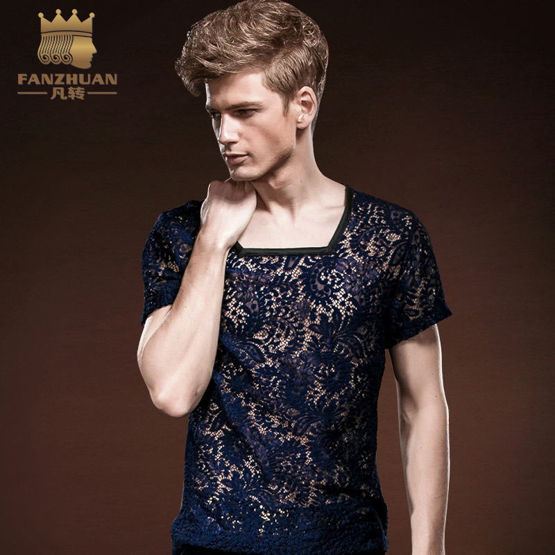 FANZHUAN Featured Brands Clothing Short Sleeve Lace T font b Shirt b font Breathable Slim font