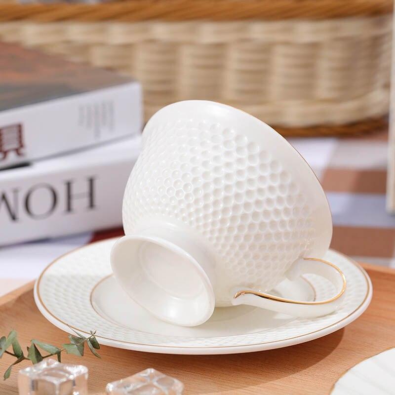 GLLead Kiinalainen valkoinen posliini-teekuppi Yksinkertainen muoti - Keittiö, ruokailu ja baari - Valokuva 2