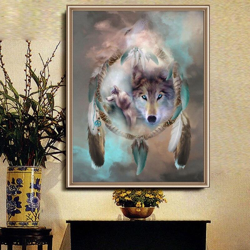 8289a0884 5d اليدويه الماس اللوحة عبر غرزة الذئب ريشة الصورة الماس التطريز الحيوان 3d  جولة الماس الفسيفساء الإبرة 30*35 سنتيمتر