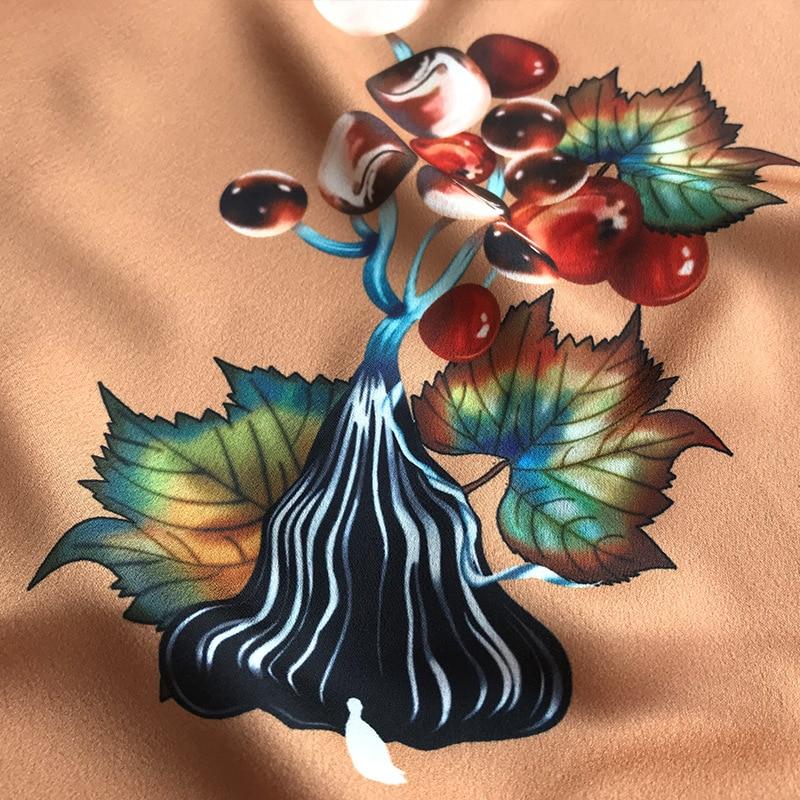 2019 Primavera y novedad de verano alta calidad diseño de vid marrón impresión ropa camisa hecha a mano DIY tela para vestido 145cm de ancho - 3