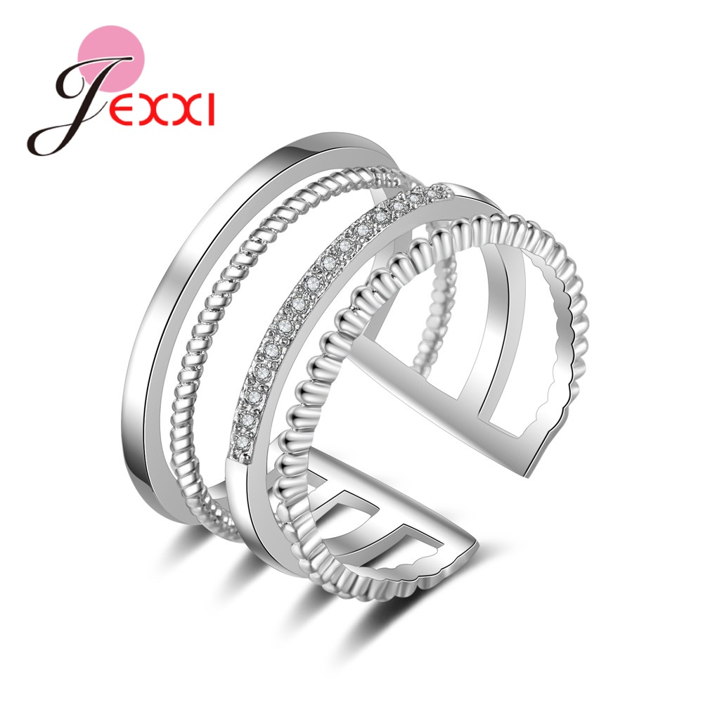 Explosion Models 925 Sterling Silver 4 Rows Of Open Ring  Pliers Crystal Zircon Jewelry Valentine's Day Present