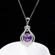 wholesale trendy 925 sterling silver natural amethyst gemstone necklace pendant for wedding engagement