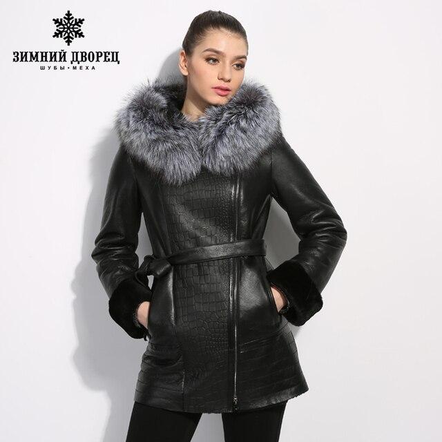 b0928ecb3518b Kożuch płaszcz skórzana kurtka wykonana z prawdziwej skóry z kapturem  wykonane z silver fox fur lider