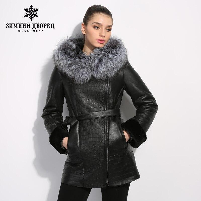 Manteau en peau de mouton un en cuir veste en cuir véritable avec un capuchon en argent fourrure de renard leader ventes est vestes d'hiver ceinture
