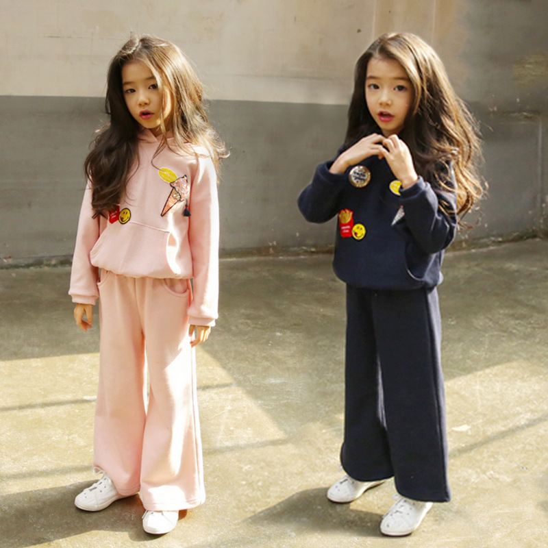 New Girls Clothing Sets Outfits Hooded Hoodies T-shirts + Wide Leg Pants Two Pieces Set 2Pcs Causal Sport Suit Kids Clothes set off shoulder tops t shirts denim pants hole jeans 3pcs outfits set clothing fashion baby kids girls clothes sets