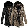 Plus size M-4XL dos homens outerwear inverno 2016/outono masculino Com Capuz casaco Grosso de Algodão Quente Acolchoado parka casacos de lã longo jaqueta y113