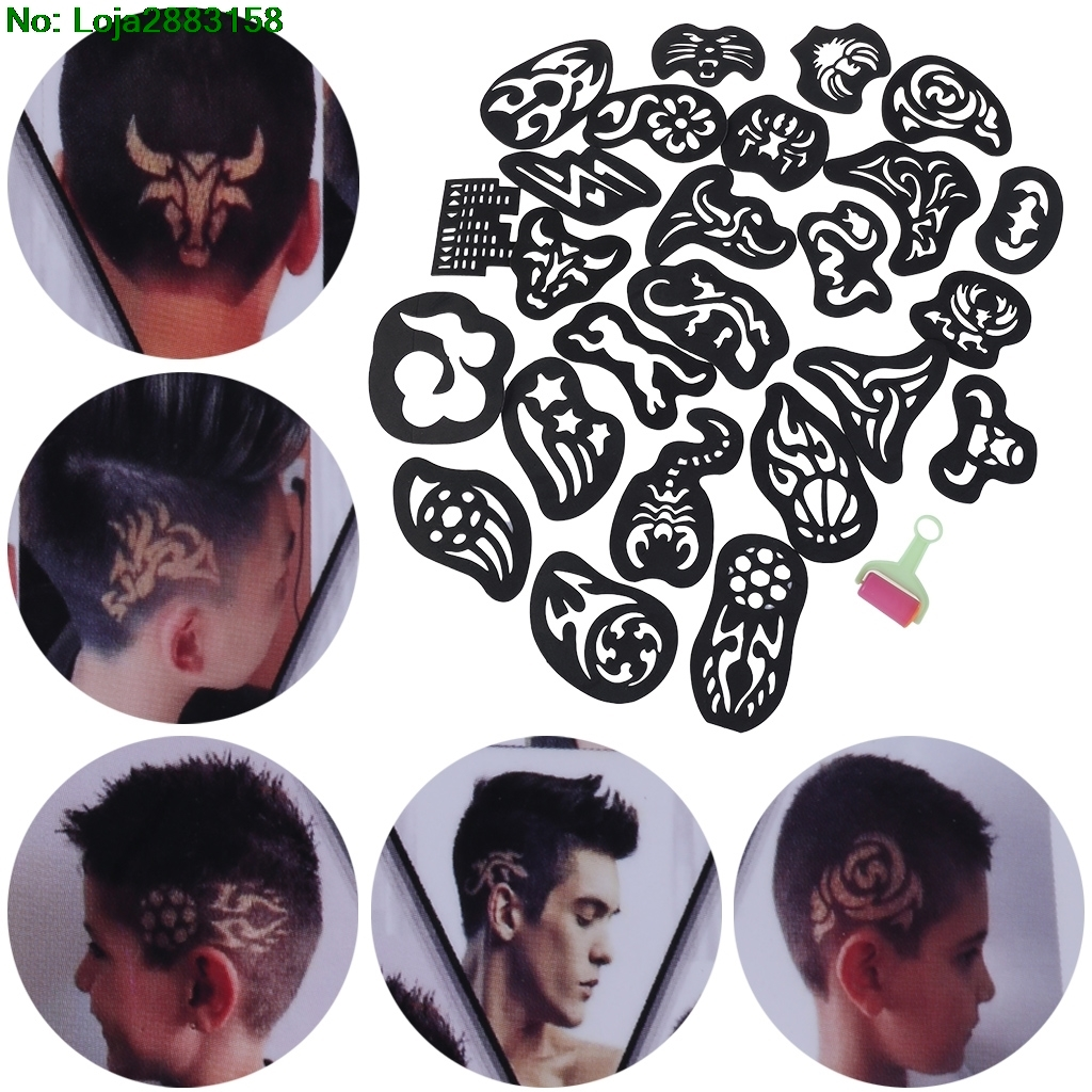 25PCS Hair Tattoo Template Hair Trimmer Carved Coloring Cool Hairstyling Tool